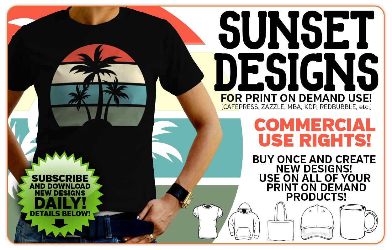 Retro Vintage Sunset Graphics for Print on Demand