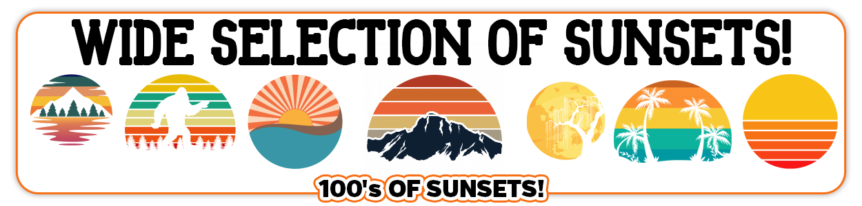 Retro Vintage Sunset Graphics for Commercial Use