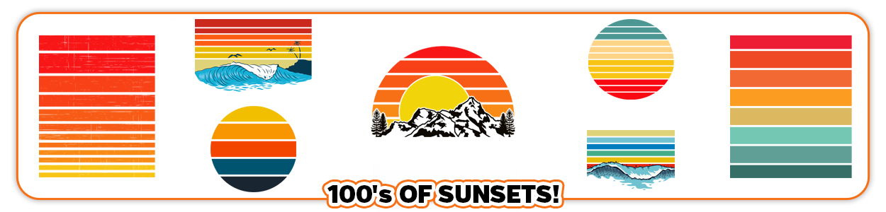 Vintage Retro Sunset Print on Demand PNG Files